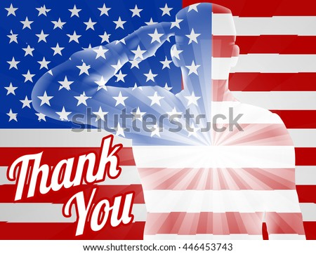 A soldier saluting with American Flag in the background with Thank You, design for Memorial Day or Veterans Day - stock vector