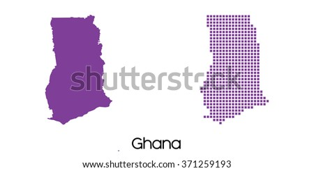 A Solid and Mosaic Map of  Ghana - stock vector