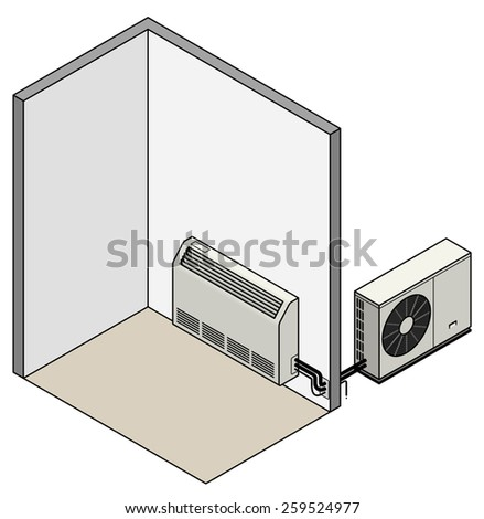 A split-unit reverse-cycle air conditioner. Low wall mounted / radiator style.  - stock vector