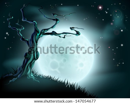 A spooky scary blue Halloween background scene with full moon, clouds, hill and scary tree - stock vector
