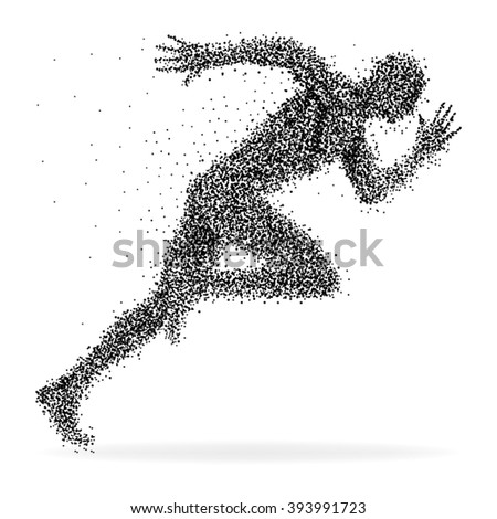 A sprinter made from dots isolated on white - stock vector