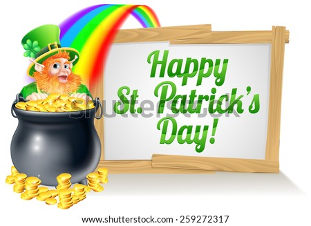 A St Patricks Day sign Happy reading St Patricks Day with a Leprechaun hat with shamrock four leaf clover and full of gold coins at the end of the rainbow - stock vector