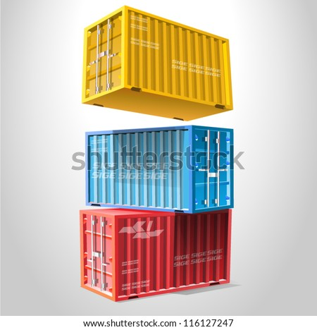 A stack of three sea freight containers vector illustration isolated on white background - stock vector