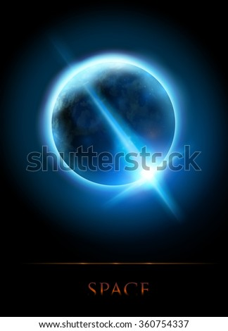 a star shining behind a planet - vector illustration - stock vector