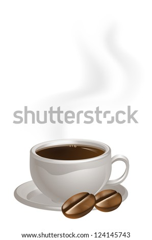 A steaming cup of coffee and two coffee beans drawing - stock vector