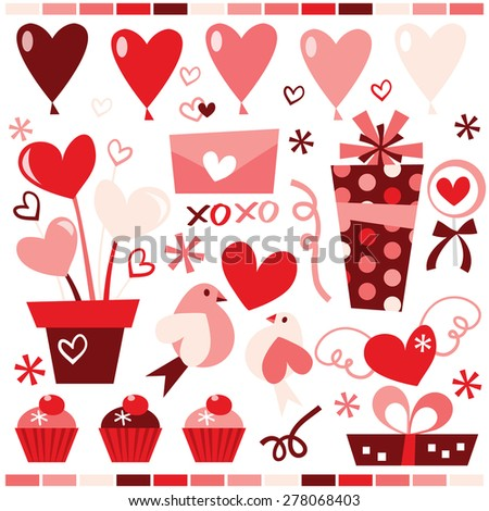 A stock vector illustration collection of cute retro clip arts for valentine's day and romance. - stock vector