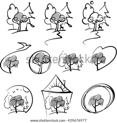 a stylized image of the forest and nature, black and white versions - stock vector