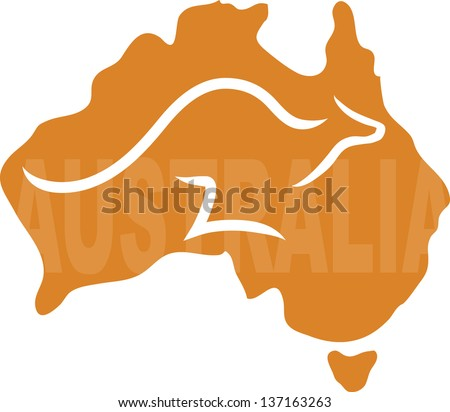 A stylized map of Australia with a kangaroo running across it - the word Australia is written on the map - stock vector