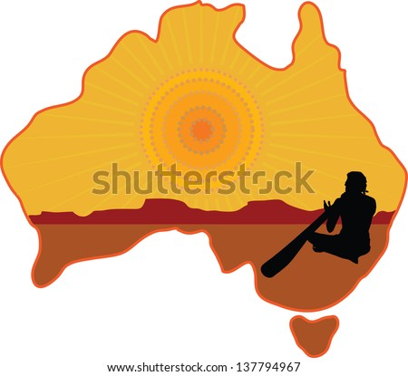 A stylized map of Australia with a silhouette of an aboriginal playing a didgeridoo - stock vector