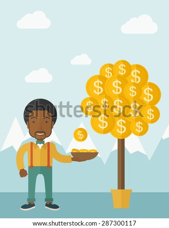 A successful african businessman standing while catching a dollar coin from money tree. Business growth concept. A contemporary style with pastel palette soft blue tinted background with desaturated - stock vector