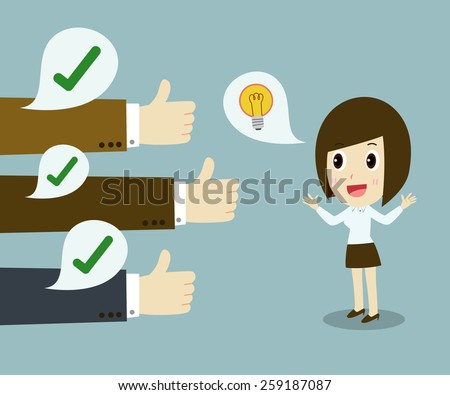 a successful business woman.  thumbs up Conceptual design. Vector illustration  - stock vector