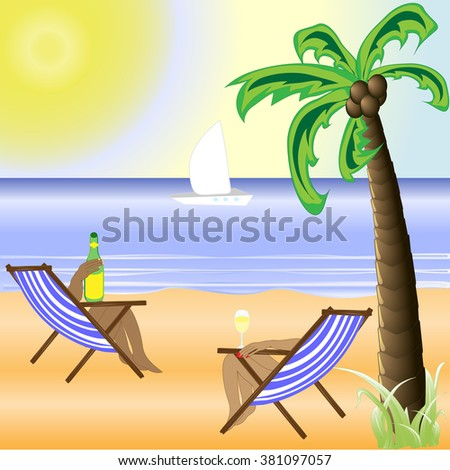 a sunny beach with a bright sun and a beautiful palm tree - stock vector