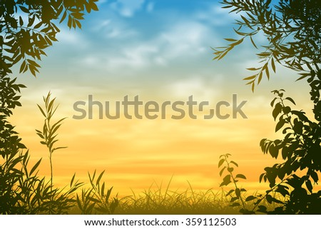 A Sunset Background with Floral Border and Leaves - stock vector