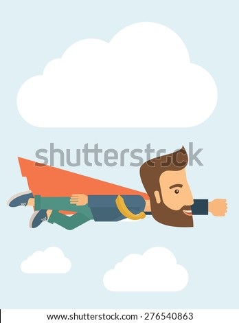 A super businessman flying high to achieve his goal. Leadership concept. A Contemporary style with pastel palette, soft blue tinted background with desaturated clouds. Vector flat design illustration - stock vector
