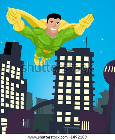 a super hero flying over a city - stock vector