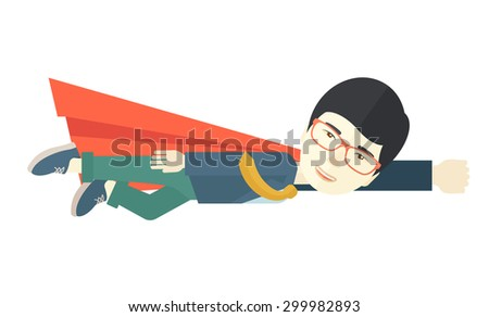 A superhero asian businessman flying high to achieve his goal. Challenge concept Contemporary style. Vector flat design illustration isolated white background. Horizontal layout.  - stock vector
