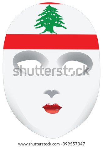 A symbolic mask, a bandana in the form of the national flag Lebanon, the image of the state - stock vector
