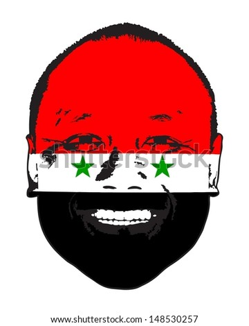 A Syria flag on a face, isolated against white.  - stock vector