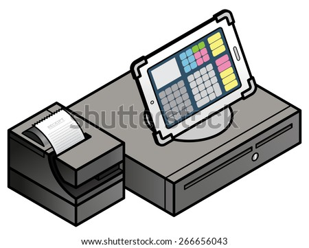 A tablet-based POS (point of sale) setup with a cash drawer and receipt printer. - stock vector