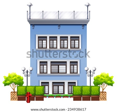 A tall commercial property on a white background  - stock vector
