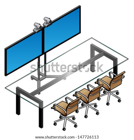 A telepresence suite with two screens, cameras, a glass conference table and 3 chairs. - stock vector