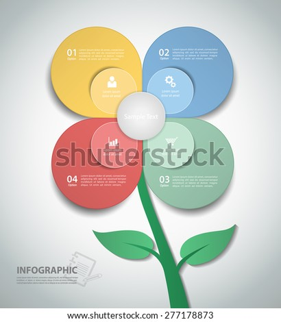 A template flower illustration Infographic. can be used for workflow layout, diagram, number options. - stock vector