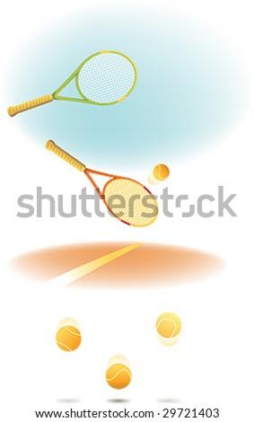 A tennis racket and tennis ball - stock vector