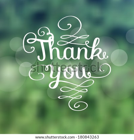 A Thank you message made of growing branches - stock vector