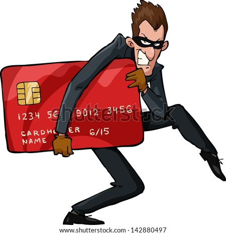 A thief with a credit card vector illustration - stock vector