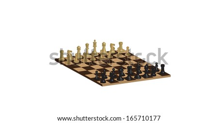 A Three Dimensional Chessboard isolated on white - stock vector