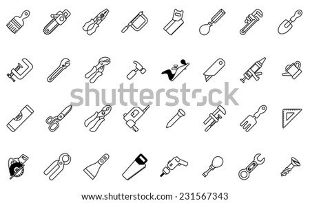A tool icon set with lots of construction or DIY tools including level, saw and many others - stock vector