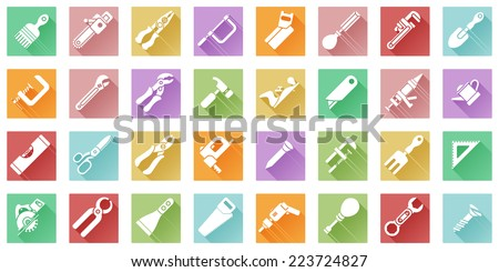 A tool icon set with lots of construction or DIY tools including level, saw and many others in a flat shadow style - stock vector