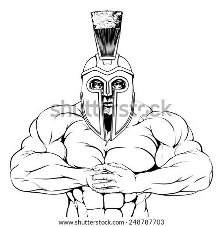 A tough muscular trojan, spartan or gladiator mascot character getting ready for a fight - stock vector