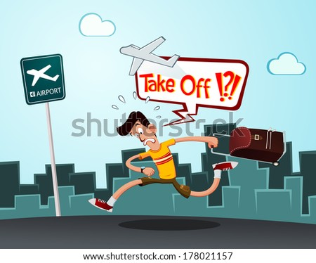 a tourist in a hurry running to the airport - stock vector