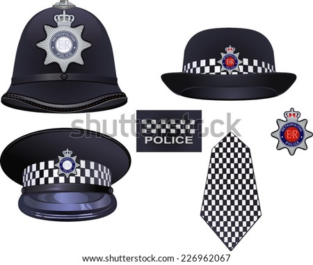 A traditional authentic helmet and hat of metropolitan British police officers - stock vector