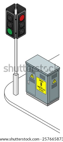 A traffic light with a road side controller box. Controller box has a fault reporting sign. - stock vector