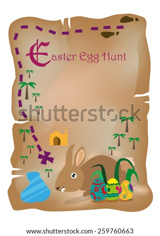 A Treasure Map for Easter Egg Holiday with Hidden Brown Rabbit and Eggs. Editable Vector Illustration. - stock vector