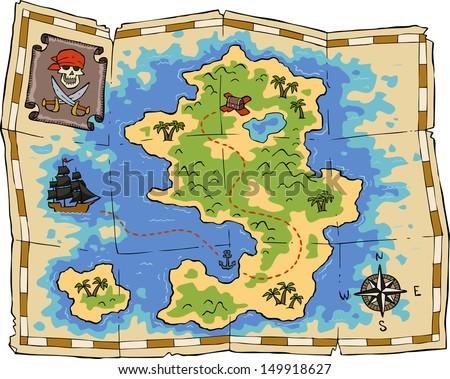 A treasure map on a white background vector illustration - stock vector