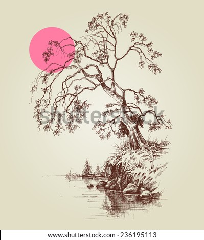A tree by the lake or river and a pink full moon sketch - stock vector