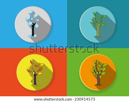 A tree in four different seasons. Flat icons. - stock vector