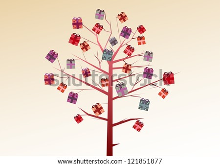 A tree of gifts - stock vector