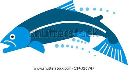 A trout or salmon leaps through the air trailing water droplets - stock vector