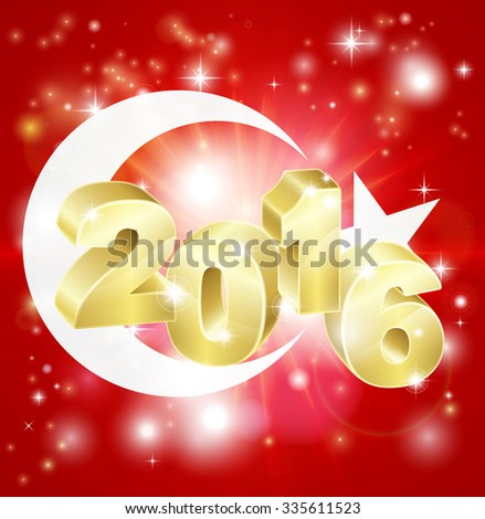 A Turkish flag with 2016 coming out of it with fireworks. Concept for New Year or anything exciting happening in Turkey in the year 2016. - stock vector