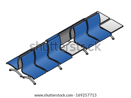 A twin row of public seating typically seen at an airport, train station or other public spaces. - stock vector