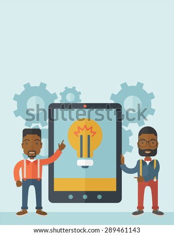 A two african businessmen standing while holding a big screen tablet with bulb icon a computer tablet perspective view strategy marketing. Business concept. A Contemporary style with pastel palette - stock vector