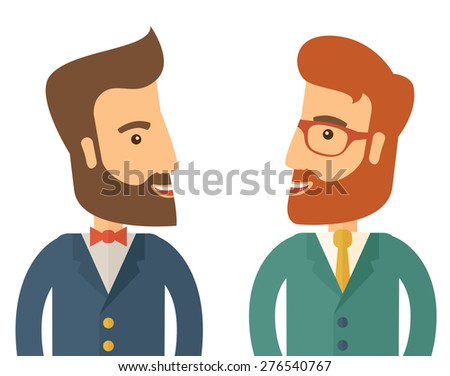 A two businessmen smiling to each other showing that they are happy for their business. A Contemporary style. Vector flat design illustration isolated white background. Square layout. - stock vector