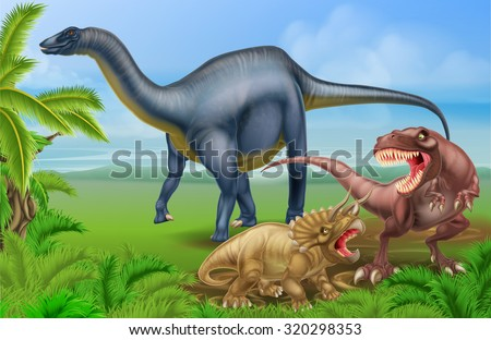 A tyrannosaurus Rex or T Rex and triceratops dinosaur in combat with a Diplodocus in the background dinosaur scene - stock vector