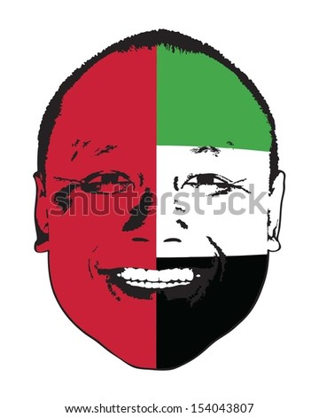 A United Arab Emirates flag on a face, isolated against white.  - stock vector