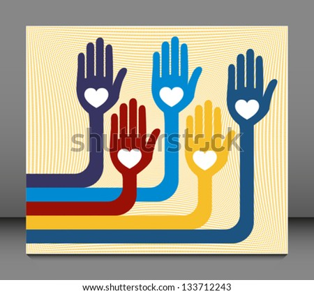 A united group of loving hands. - stock vector