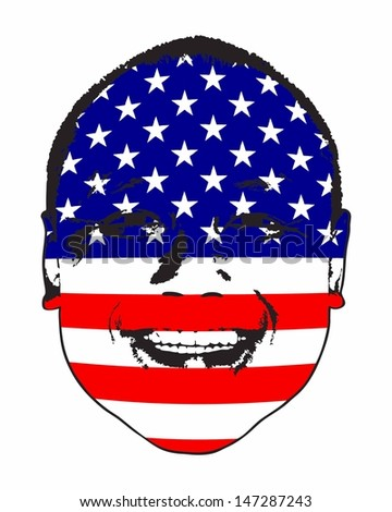 A United States of America flag on a face, isolated against white.  - stock vector